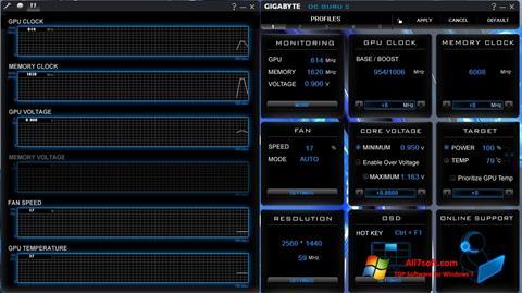 Snimak zaslona GIGABYTE OC Guru Windows 7
