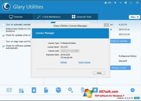 Snimak zaslona Glary Utilities Windows 7