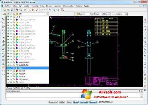 Snimak zaslona DraftSight Windows 7