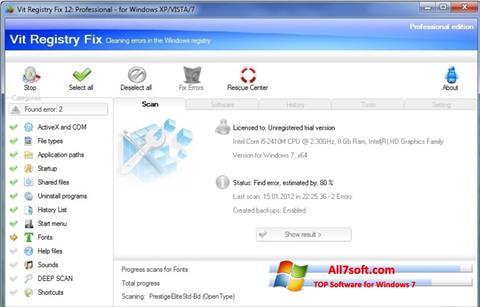 Snimak zaslona Vit Registry Fix Windows 7