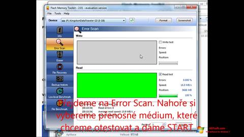 Snimak zaslona Flash Memory Toolkit Windows 7