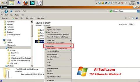 Snimak zaslona MagicISO Windows 7