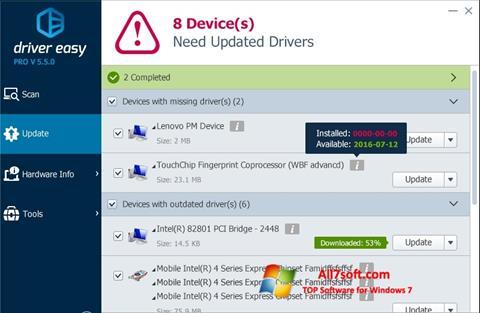 Snimak zaslona Driver Easy Windows 7