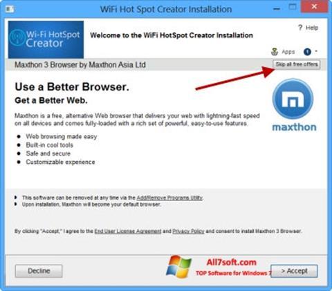 Snimak zaslona Wi-Fi HotSpot Creator Windows 7