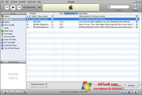 Snimak zaslona iTunes Windows 7