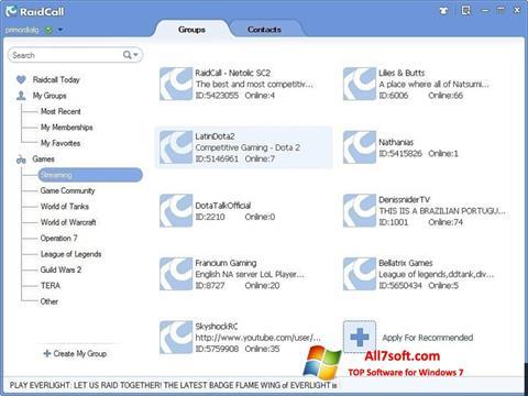 Snimak zaslona RaidCall Windows 7