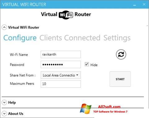 Snimak zaslona Virtual WiFi Router Windows 7