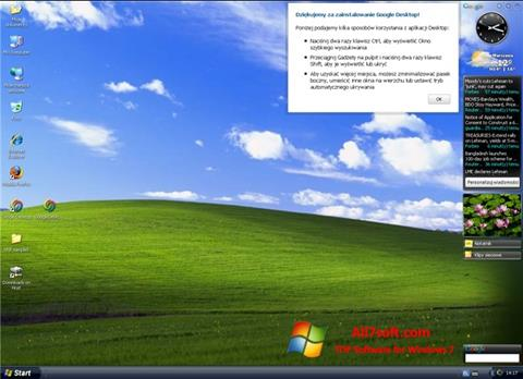 Snimak zaslona Google Desktop Windows 7