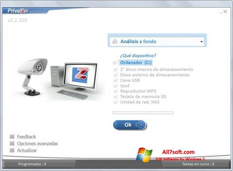 Snimak zaslona PrivaZer Windows 7