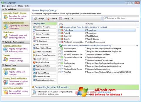 Snimak zaslona Reg Organizer Windows 7