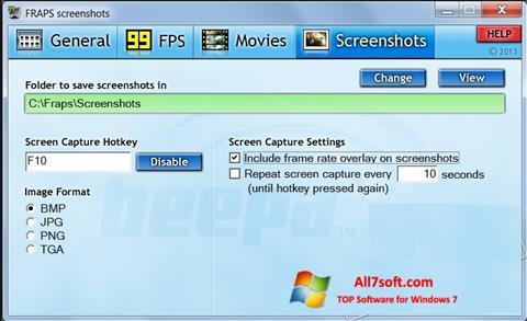 Snimak zaslona Fraps Windows 7