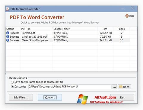Snimak zaslona PDF to Word Converter Windows 7