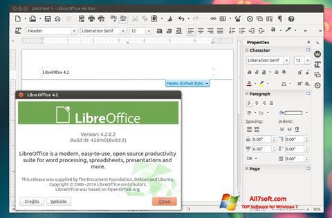 Snimak zaslona LibreOffice Windows 7