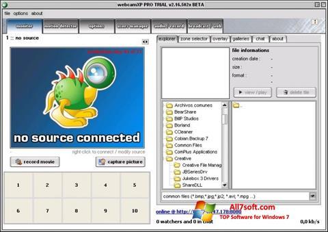 Snimak zaslona webcamXP Windows 7