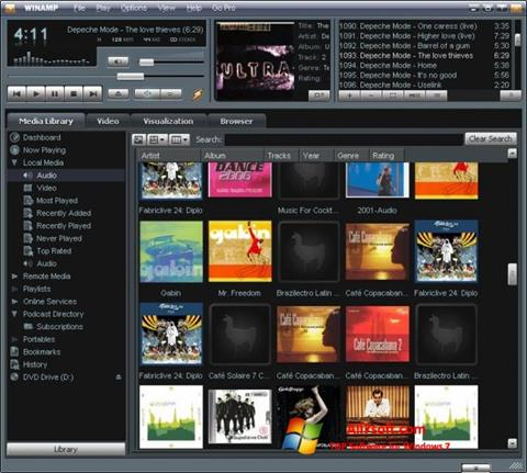 Snimak zaslona Winamp Windows 7