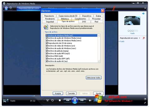 Snimak zaslona Windows Media Player Windows 7