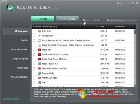 Snimak zaslona IObit Uninstaller Windows 7