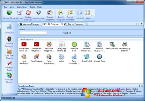 Snimak zaslona Revo Uninstaller Pro Windows 7