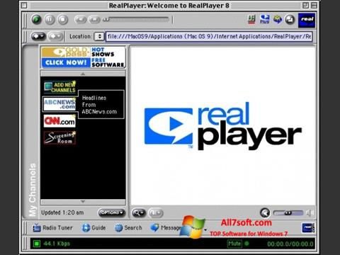 Snimak zaslona RealPlayer Windows 7