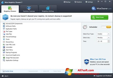 Snimak zaslona Wise Registry Cleaner Windows 7