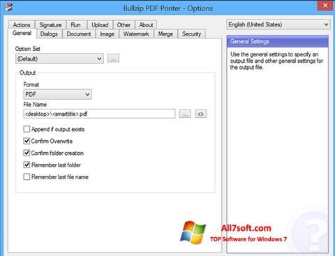 Snimak zaslona BullZip PDF Printer Windows 7