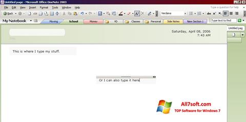 Snimak zaslona Microsoft OneNote Windows 7