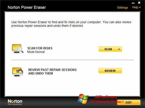 Snimak zaslona Norton Power Eraser Windows 7
