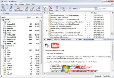 Snimak zaslona Mozilla Thunderbird Windows 7