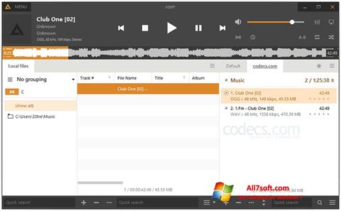 Snimak zaslona AIMP Windows 7