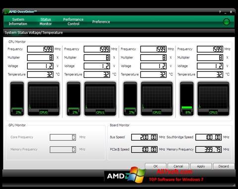 Snimak zaslona AMD Overdrive Windows 7