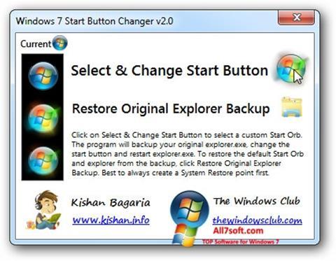 Snimak zaslona Windows 7 Start Button Changer Windows 7